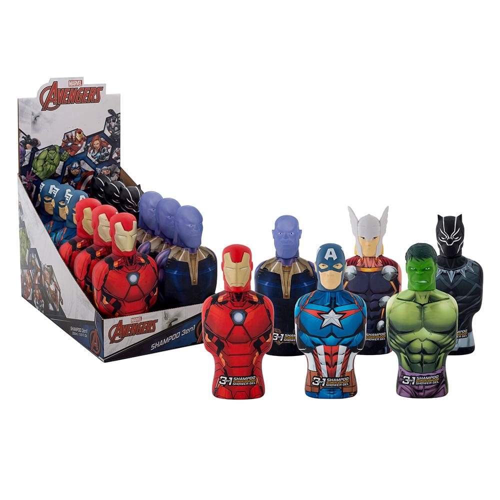 Caja 12 Unidades- Shampoo Avengers 3 En 1 3D Marvel 350 ml