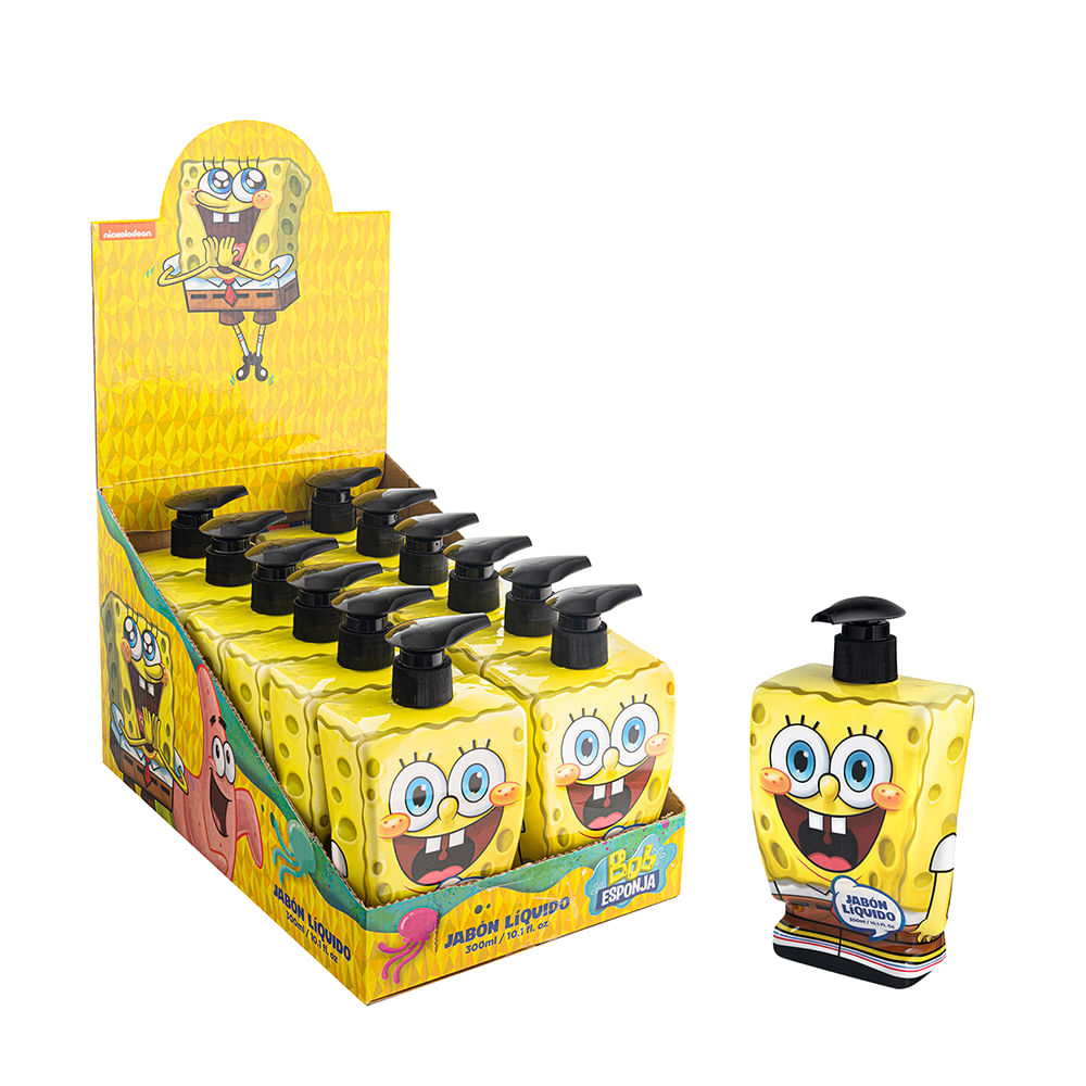 Caja 12 Unidades - Jabon Liquido Bob Esponja 300 ml