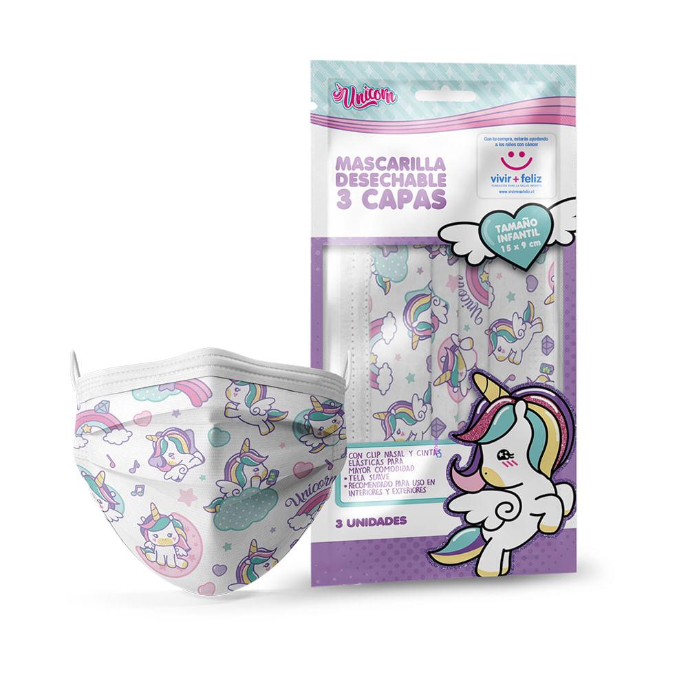Caja 20 Set de 3 Unidades c/u - Mascarilla Desechable Infantil Unicornio